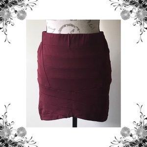 {Bardot} Merlot Bandage Mini Skirt